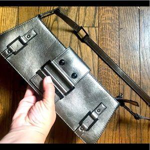 Metallic y2k 90s silver pewter shoulder bag purse
